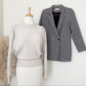 H&M beige puff sleeves knit sweater